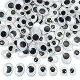 TOAOB 200 Piezas 14 x 19 mm 10 x 13 mm 12 x 16 mm 8 x 10 mm Blanco y Negro Ojos Móviles Seguridad Ojos de Plástico Oval Ojos Autoadhesivo para DIY Artesanía Animales de Peluche Marionetas
