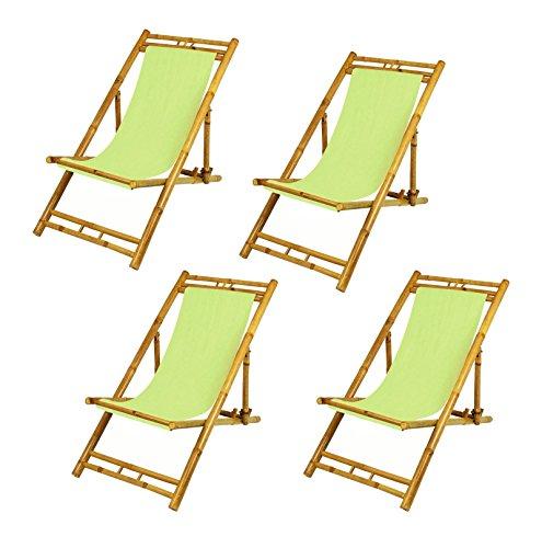 Dynamic24 4x bamboe relax ligstoel tuin stoel zonnebed houten ligstoel meubilair inklapbaar (groen)
