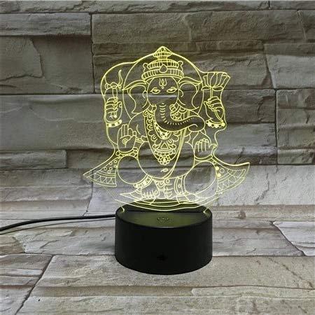 Lámpara de mesa 3D creativa elefante Buda luz de noche USB LED multicolor decoración de acrílico regalo de la habitación
