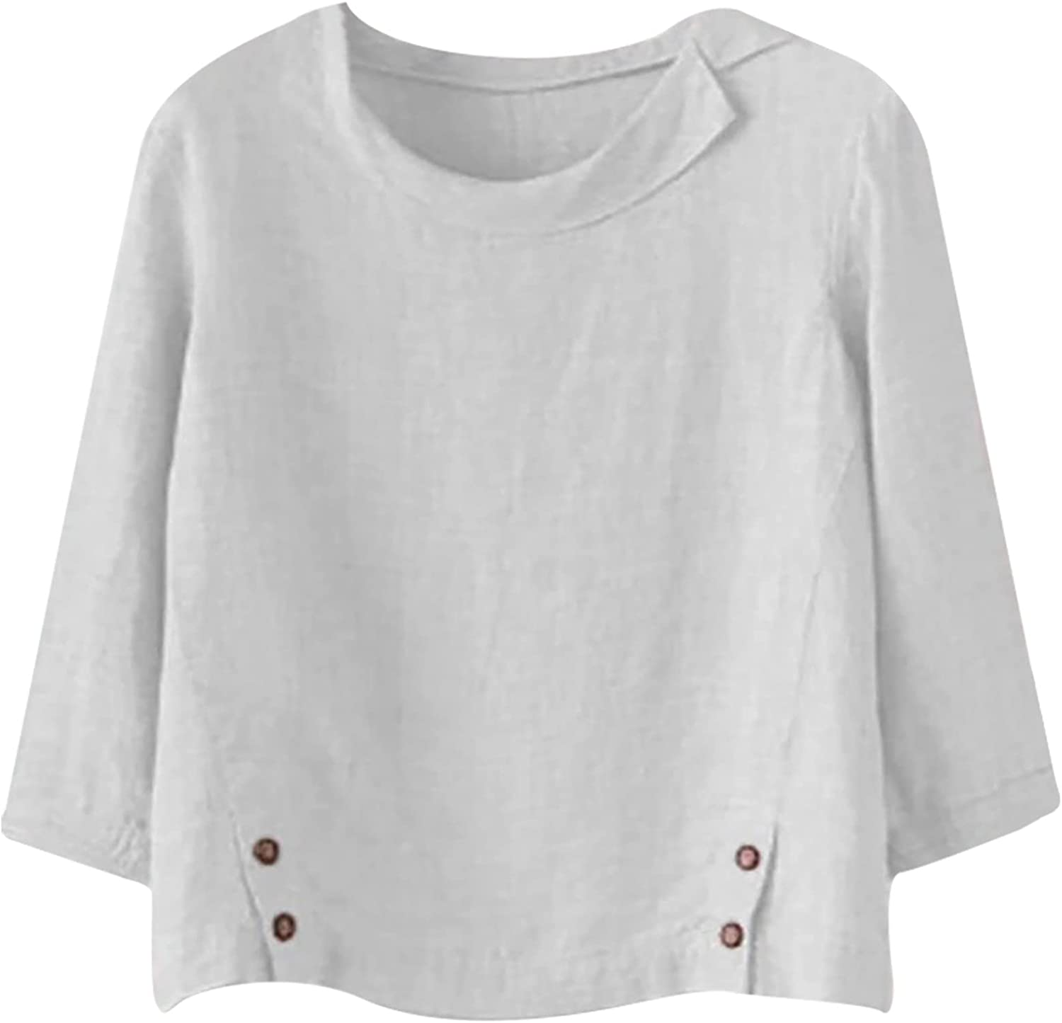 Linen T Shirt for Women Solid Color Blouse Long Sleeve Tees Round Neck Casual Tops Lightweight Tshirt