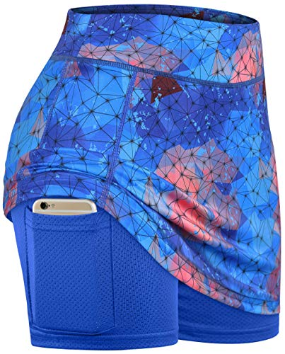 BLEVONH Skorts for Women with Pockets,Ladies Plus Sized Fashion Print Tennis Skirts Womens Cool Feeling Sports Golf Skirt Fitness Outdoor Recreation Skort with Liner Geometric 2XL