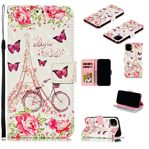 StarCity Case for iPhone 11, [Kickstand Feature] 3D Folio Flip Wallet Case with Wrist Strap/Card Slots/Side Pocket for iPhone 11 (Paris Butterfly Flower)