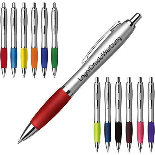 Schmalz Werbeservice Kunststoff Kugelschreiber Cardiff inkl. Druck mit Werbung/Logo/Druck/Werbedruck Kugelschreiber Bedruckt Digitaldruck Mehrfarbig (Menge: 50 Stück, schwarz)