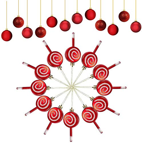 YBB 24 Pcs Christmas Lollipop Ornament Set, 4 Inch Red and White Glittery Lollipop with Small Red Ball Christmas Tree Candy Hanging Ornaments Holiday Decorations