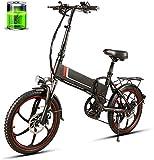 Bicicleta eléctrica de nieve, Nuevo 20 pulgadas plegable bicicleta eléctrica E-vespa de la bici de 48V 350W 10.4AH Motor Conjoined Lamer Power Assist bicicleta eléctrica, se aplican a for hombres y mu