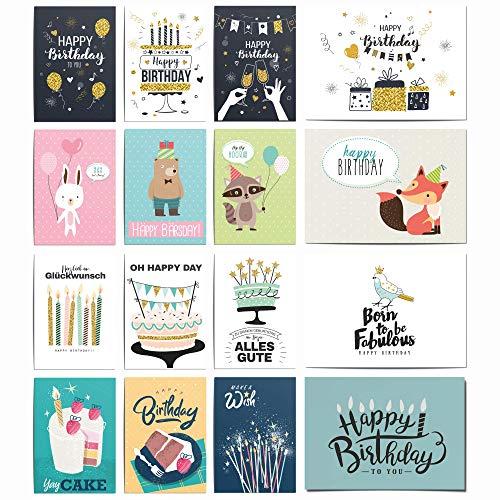 20 Geburtstagskarten Set | Glückwunschkarte Grusskarte Geburtstag Happy Birthday | Männer Frauen Kinder | Hochwertig ohne Umschlag blanko