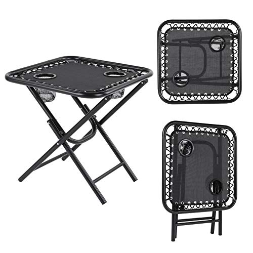MVPower Sun Loungers Set of 2 Zero Gravity Chair Foldable withSideTable,CupHolder,AdjustableHeadCushion for Garden Indoor And Outdoor Patio Lawn, Camping, Poolside Black