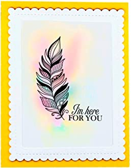 LZBRDY 5.9 by 8.3 Inch Feathers Wreath Thinking of You Love Clear Stamps and Dies for Card Making and Scrapbooking Valentines Dad Stamp and Die Set