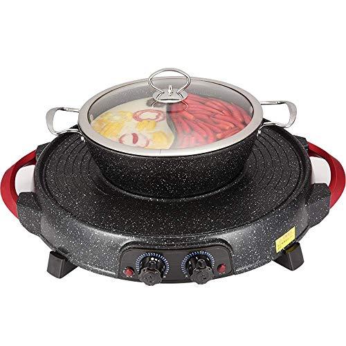 CHENMAO Maifan Barbacoa de Piedra Hotpot 2-en-1 -Indoor Hot Pot Multifuncional, Cubierta Teppanyaki Grill/Maceta con el Divisor de Temperatura contral, Capacidad para