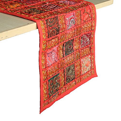 RAJRANG BRINGING RAJASTHAN TO YOU Rajasthani Patchwork Table Runner - Decorative Hand Embroidered Colorful Red Cotton Luxury Coffee Dining Style Table Tea Placemat Decor 30x182 cm