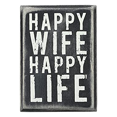 Primitives by Kathy Box Sign, 2.5 by 3.5-Inch, Happy Wife
