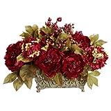 Nearly Natural 4929 18in. Peony & Hydrangea Silk Flower Arrangement,Red,13.75' x 12' x 9.5'