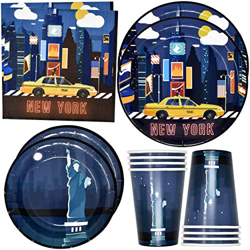 New York City NYC Party Supplies Tableware Set 24 9' Plates 24 7' Plate 24 9 Oz. Cups 50 Lunch Napkins for Broadway Statue of Liberty Skyscraper Subway Birthday Parties Disposable Paper Goods Decor