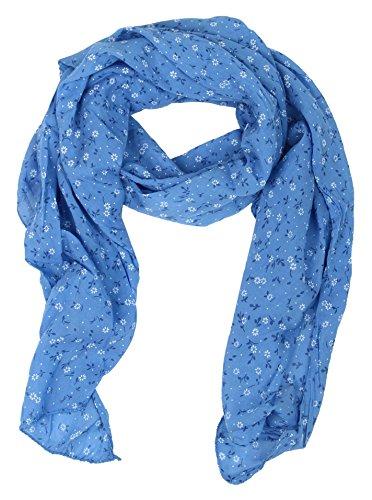 Seiden-Tuch Damen Blumen Muster - Made in Italy - Eleganter Sommer-Schal für Frauen - Hochwertiges Seidentuch / Seidenschal - Halstuch und Chiffon-Stola stilvolles Muster von Zwillingsherz blau