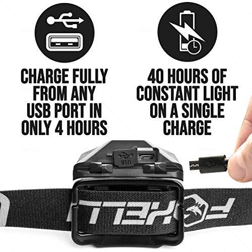 Foxelli USB lampe frontale rechargeable lampe de poche–180lumens, jusqu'à 40heures de...