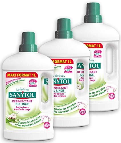 Sanytol Désinfectant du Linge Aloe Vera Fleurs de Coton 1 Litre - Lot de 3