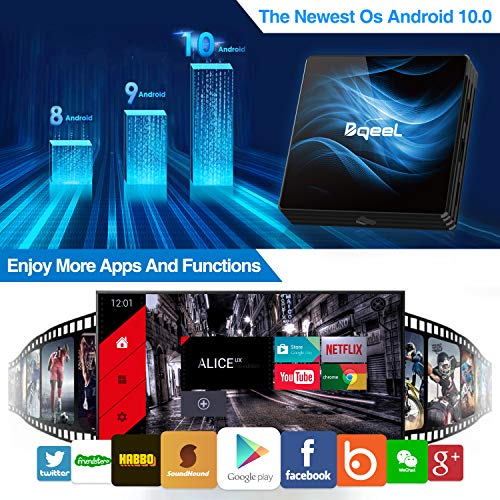 Bqeel Android 10.0 TV Box?4G+64G?, R2 Max Box Android TV RK3318 Quad-Core 64bit Cortex-A53/ Wi-FI 2.4G/5G+ LAN 100M /4K UHD/Boitier Android TV