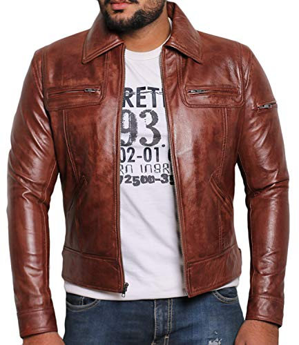 Laverapelle Men's Genuine Lambskin Leather Jacket (Vax Brown, Custom, Polyester Lining) - 1501200