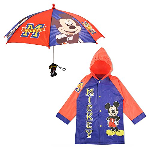 Disney Boys' Little Mickey Mouse Slicker and Umbrella Set, Blue/Red, Age 4-5