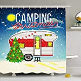 Shower Curtain For Bathroom 66x72 Home Advent Christmas Winter Camp Vintage Skiing Abstract Adventure Merry Year Camping Car Tree Snow Waterproof Polyester Fabric Bath Decor Set With Hooks 66x72 Inch