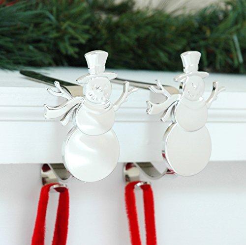 ClipClip - Supporto decorativo per calza della Befana, confezione da 2, colore: argento, pupazzo di neve