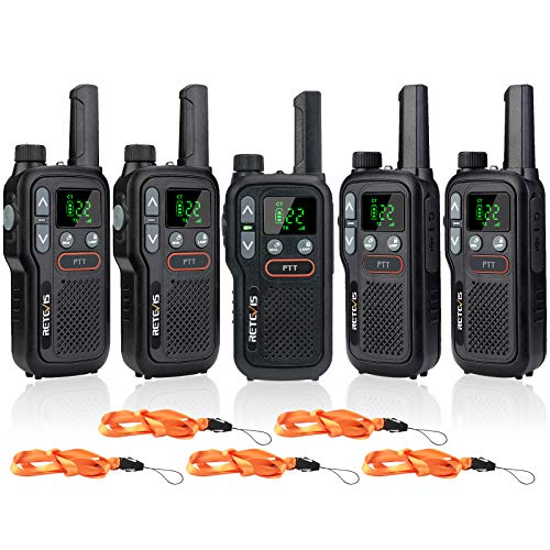 Retevis RB18 2 Way Radio for Adults,Long Range Walkie Talkies Rechargeable,Portable Small Two Way Radio,22 CH NOAA Dual PTT Flashlight VOX,for Commercial School Restaurant Grocery Store(5 Pack)