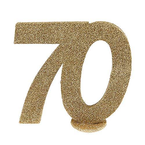 Jubiläumszahl 70 in Gold glitzernd zum Aufstellen, 10 cm