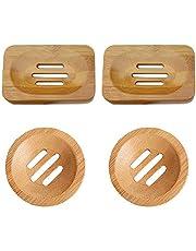 Jabonera de bambú (4 unidades, caja de jabón de madera natural, pequeño contenedor de jabón a prueba de moho, drenaje, bandeja de bambú natural, rectangular, ovalada, para baño y fregadero de cocina