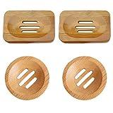 4 Stücke Naturholz-Seifenschale Bambus Seifenschale Holz oval Seifenhalter perforiert handgefertigt für Badezimmer-Stand-Gestell Bad Waschbecken Deck Seifenhalterungfür Bad Küche Zuhause