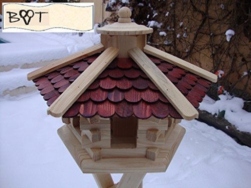 BTV Vogelhaus, Futterhaus, Holz massiv, Natur-Vogelhäuser in PREMIUMQUALITÄT, Vogelfutterhaus in Größe 44 cm duOS