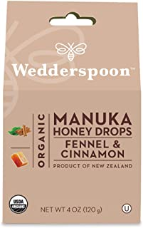 Wedderspoon Organic Manuka Honey Drops, Fennel + Cinnamon, Unpasteurized, Genuine New Zealand Honey, Perfect Remedy For Dr...