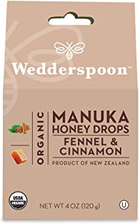 Wedderspoon Organic Manuka Honey Drops, Fennel + Cinnamon, 4.0 Oz, Unpasteurized, Genuine New Zealand Honey, Perfect Remedy For Dry Throats