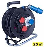 25 m Campingkabeltrommel 1x CEE 16A Dose / 2x 230V IP44 Dose Kabeltrommel H07RN-F 3G2,5 gemäß VDE Bestimmung 2,5mm² 3-pol Kabel Stecker 25m Campingkabel Caravan Camping Stromleitung...
