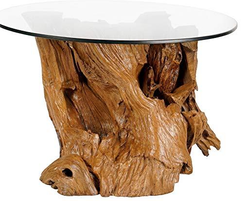 Windalf ronde vintage bijzettafel Luiza Ø 75 cm h: 45 cm rustieke salontafel met glasplaat Landhuis UNIEK handwerk wortelhout