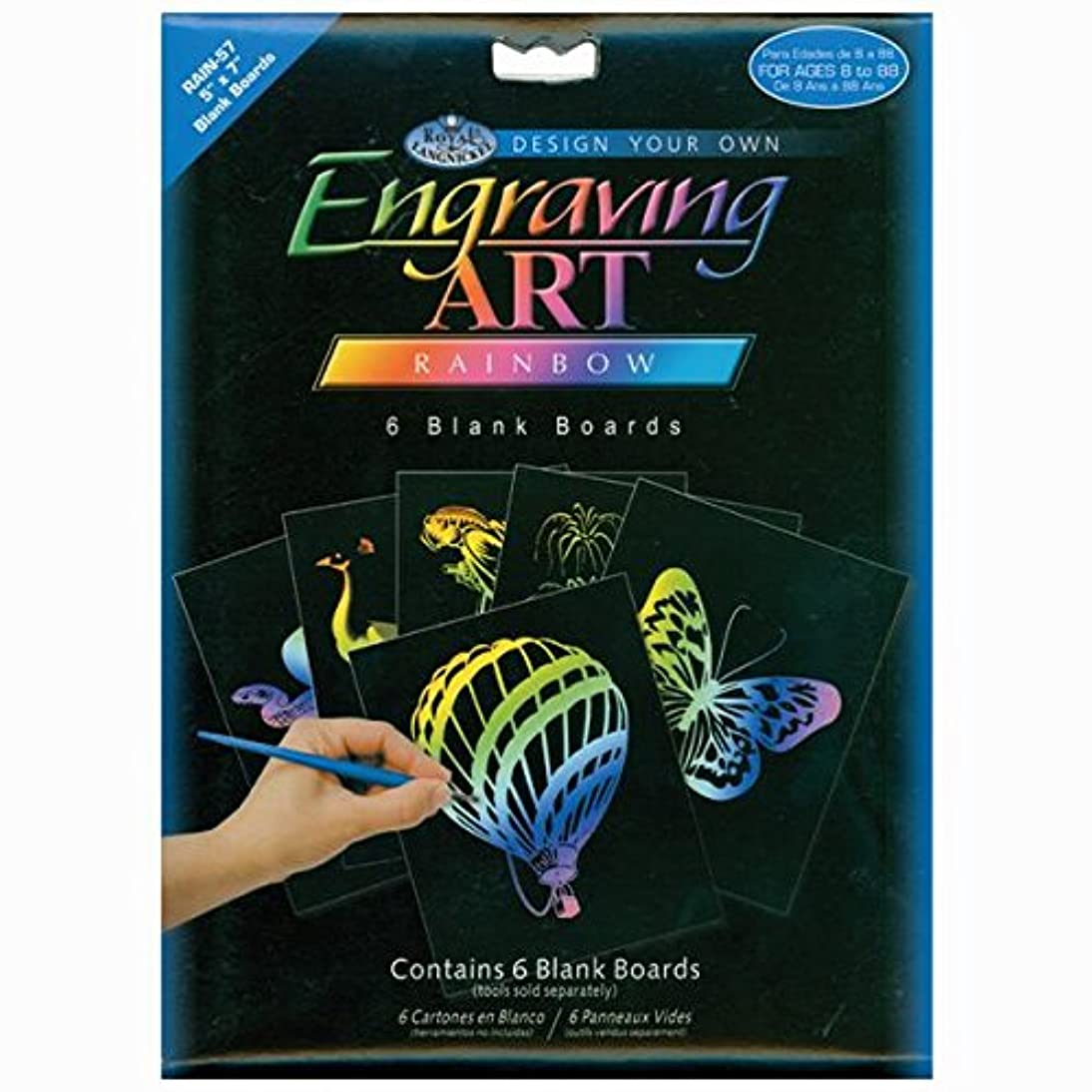 ROYAL BRUSH Foil Engraving Art Blank Boards, 5 by 7-Inch, Rainbow, 6-Pack