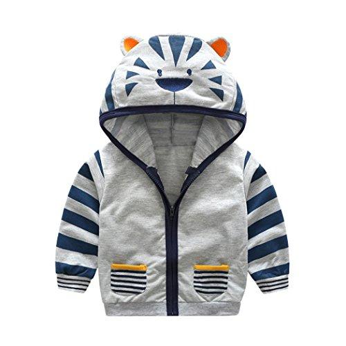 Longra Baby Kinder Jungen Mädchen Karikatur-Tier Sweatjacke Sweatshirts mit Kapuze Unisex Baby Jacke Kinderjacken Kapuzenpullover Mantel mit...