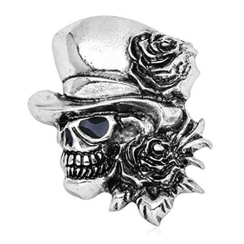 Broche de moda con diseño de calavera, estilo gótico, vintage, punk, Halloween, fiesta, calavera, diseño de rosas