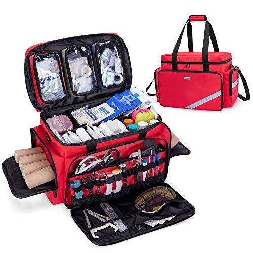 Trunab First Aid Bag Empty, Professional Medical Bag Emergency Responder Trauma Bag with Inner Dividers and Anti-Slip Bottom, Ideal for EMT, EMS, Paramedics, Red - Patented Design, Bag Only