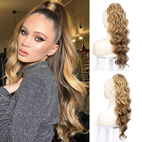 Body Wavy Ponytail Extension Clip in Ponytail Heat Resistant Synthetic Long Wave Drawstring Ponytail Hair Piece for Women 24Inch