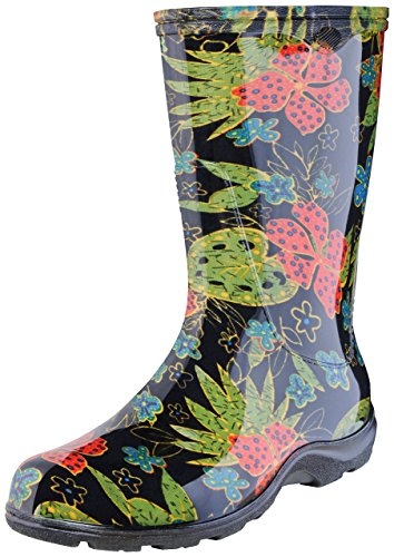 Sloggers Women's Waterproof Rain and Garden Boot with Comfort Insole, Midsummer Black, Size 9, Style 5002BK09