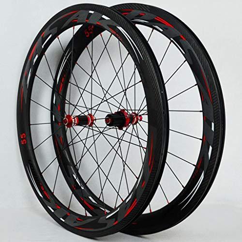 Open Version 700C Road Bike Wheel Set Straight-Pull Spokes 4 Bearing C-Brake V-Brake Aluminum Alloy Fat Rim Wheel Set Quick Release Red Carbon Fiber Hub Drum(A Pair of Wheels)