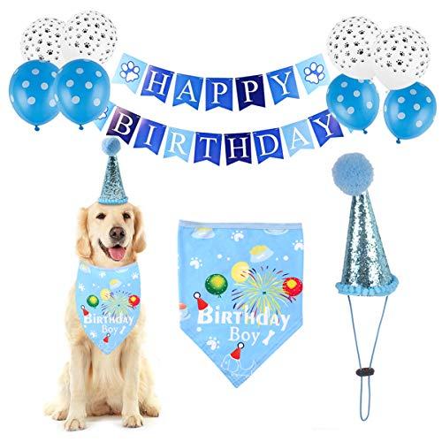 Felenny Globos de Fiesta de Cumpleaños de Perro Set Suministros para Mascotas Sombrero de Bandana Banner de Feliz Cumpleaños Kit de Globos Tema Animal Decoraciones de Fiesta de Cumpleaños
