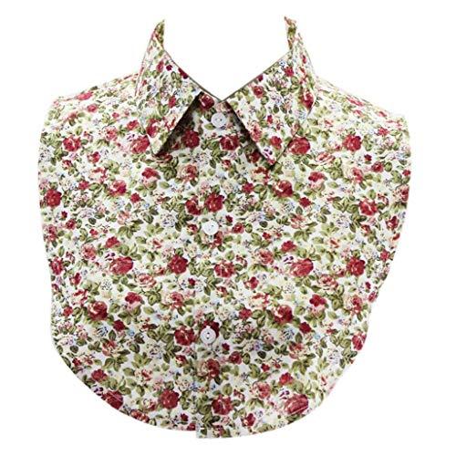 Camisa Falsa De Mujeres Collares De Algodón Desmontable Floral Cuello Decorado Collares...