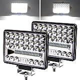 YnGia 2 luz LED de trabajo de 5 pulgadas, luces LED cuadradas de conducción, luces de trabajo, haz de luz LED combinada de inundación puntual, 12V 24V para tractor, camión, barco todo terreno