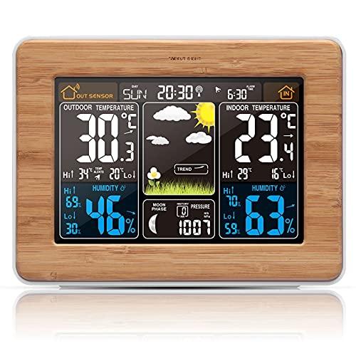 SJH Estación Meteorológica Inalámbrica con Exterior Interior Temperatura/Humedad/barométrica/pronóstico/Fase Lunar/Reloj Despertador, estación meteorológica Digital LCD con Sensor Exterior