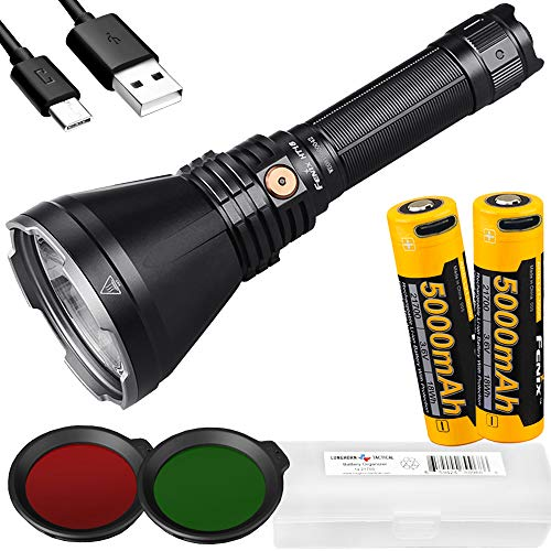 Fenix HT18 1500 Lumen 1011 Yards Long-Range Rechargeable Hunting Light with Extra Rechargeable 5000mAh Battery and LumenTac Battery Case