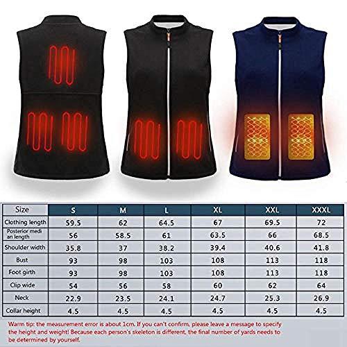 Verwarmd vest voor mannen en vrouwen, wasbaar via de USB-lader verwarmd warm wintervest, geschikt voor winterskiën, wandelen, kamperen, vissen, outdoor-sporten. Medium Zwart - 1