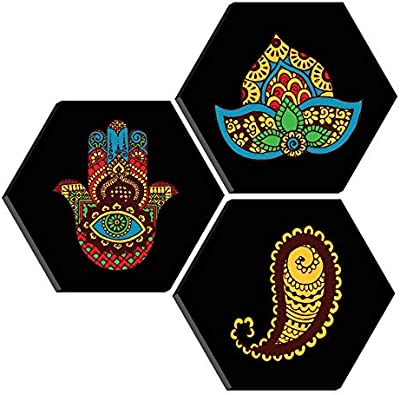 SAF Set of 3 Hexagon Modern Art MDF Board UV Textured Painting 17 Inch X 17 Inch SANFHXS30412