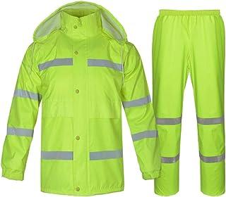 BGROESTWB Snow Rainwear Reflective Raincoat Suit Outdoor Riding Safety Visibility Work Rainproof Jacket Coat Split Raincoa...
