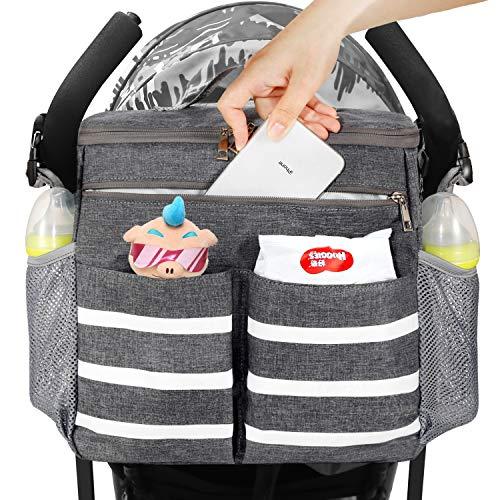 Conleke Kinderwagen Organizer, Universale Kinderwagentasche Buggy Organizer Hänge Tasche mit1 Schulterriemen, Unverzichtbares Kinderwagen-Zubehör(grau,weißer balken)
